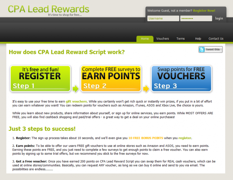 CPA Lead Reward Script (Incentive Script) - Website Scripts