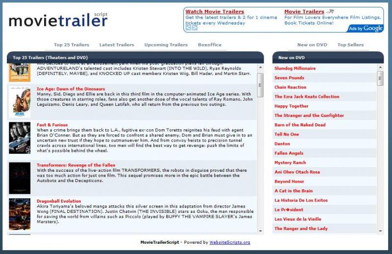 Movie Trailer Script - Website Scripts - Website Scripts