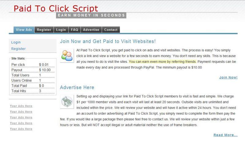 Paid To Click Script - Website Scripts - Website Scripts - Best
