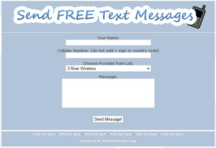 Free SMS Text Messaging Script - Website Scripts - Website Scripts